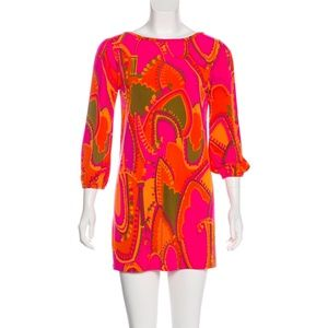 Tibi Bright Colorful Print Scoop Back Mini Dress